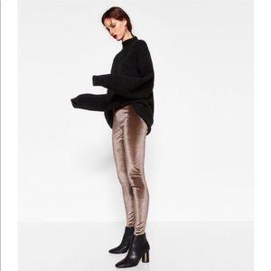 Zara bronze velvet leggins